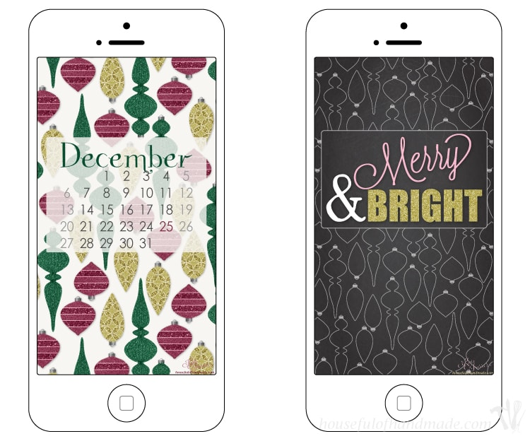 Add a little Christmas cheer to your electronics! Download your free desktop and smartphone backgrounds for December from HousefulofHandmade.com.