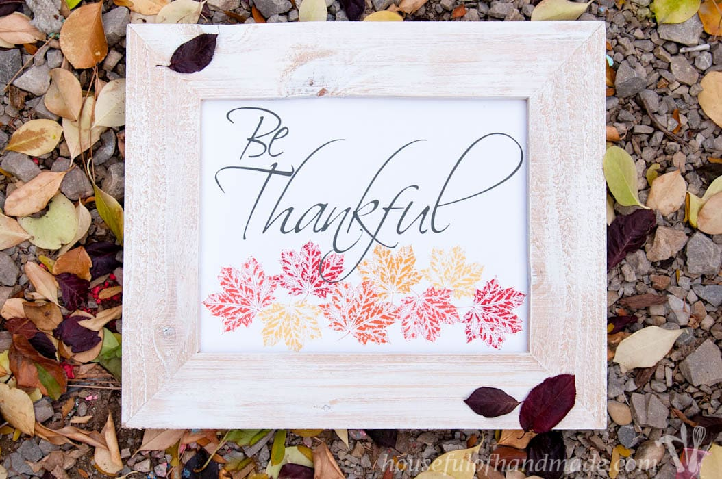 Bring the fall leaves inside with some beautiful free printable Thanksgiving art. Soft colors for fall with Thanksgiving sayings make decorating easy. | HousefulofHandmade.com