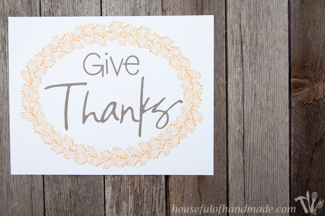 Bring the fall leaves inside with some beautiful free printable Thanksgiving art. Soft colors for fall with Thanksgiving sayings make decorating easy.   HousefulofHandmade.com