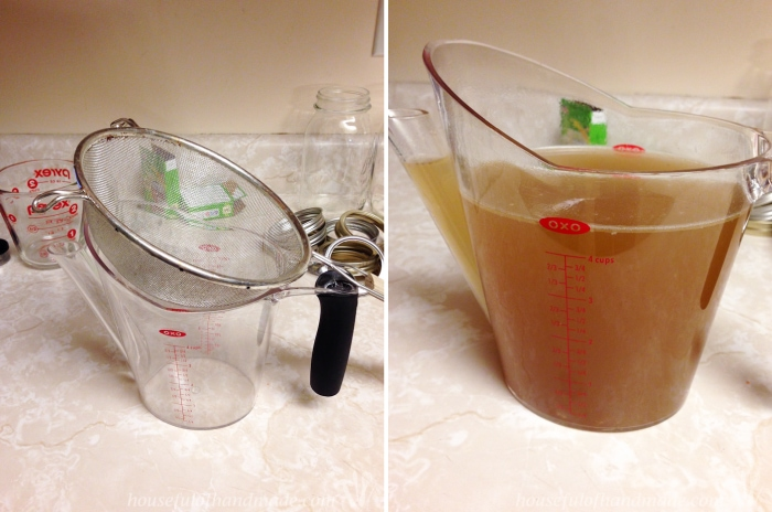 Learn how to make and preserve chicken stock for only pennies. Seriously, it takes just scraps to make a large pot of delicious stock for all your soup cravings this winter. | Housefulofhandmade.com