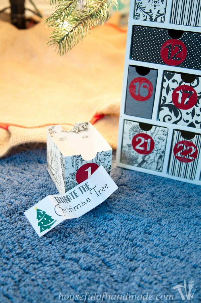 day one of the stress free diy advent calendar activities