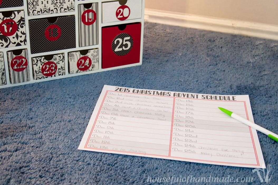 schedule for a stress free advent calendar activities