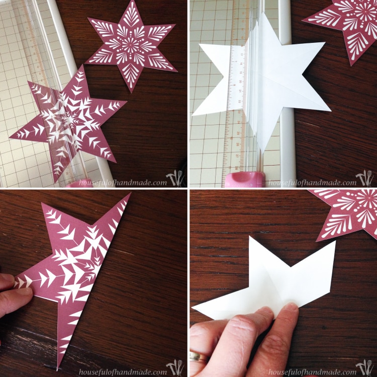 process images of folding diy christmas ornaments