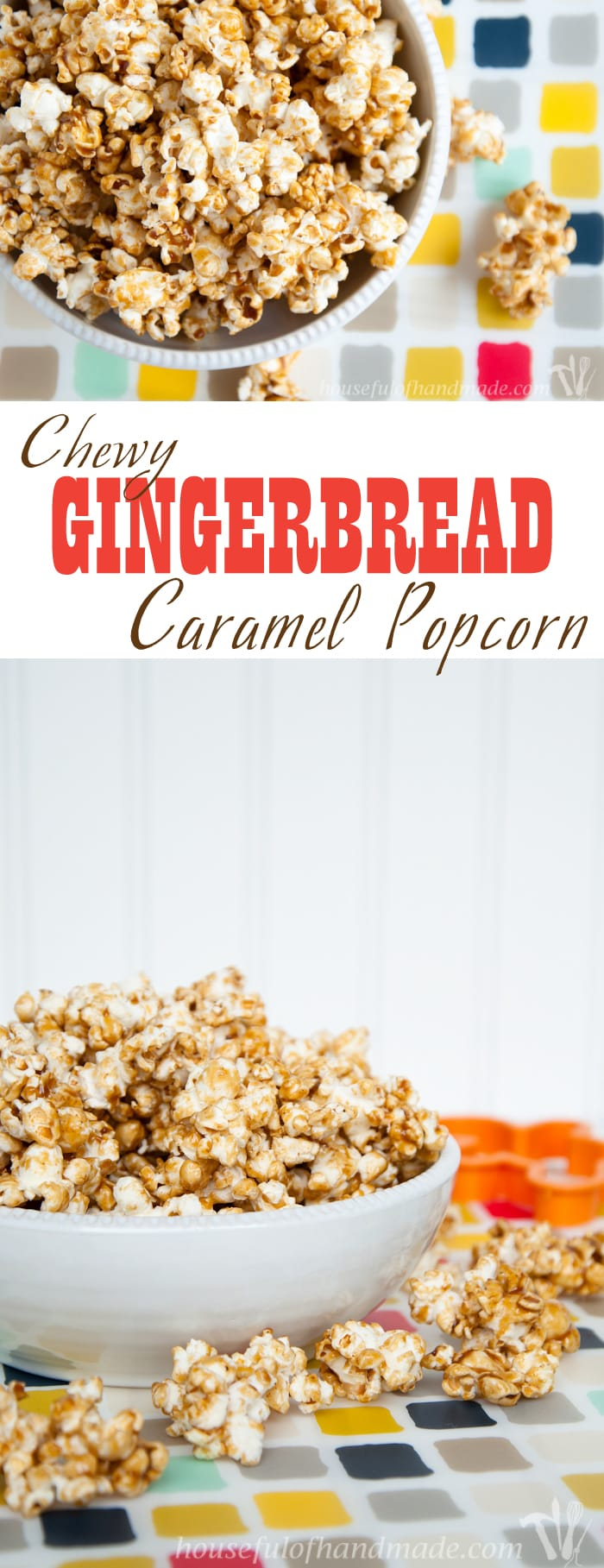 Celebrate Christmas with this delicious and chewy gingerbread caramel popcorn. You can whip up a batch in 10 minutes to take to your next party or for the perfect neighbor gifts. | Housefulofhandmade.com