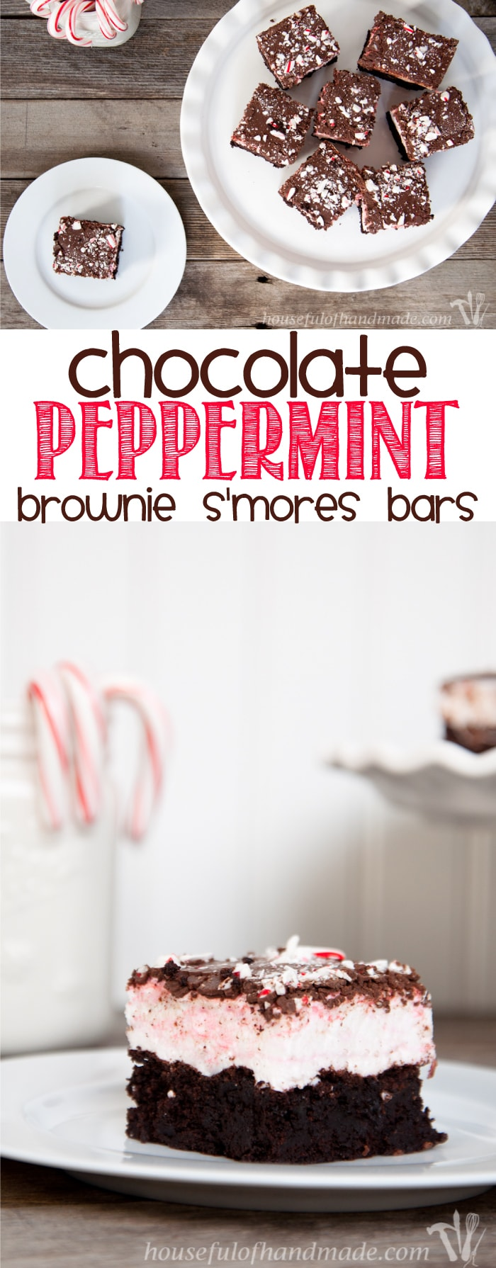 These bars are perfect for Christmas baking. The two best flavors of the season make these Chocolate Peppermint Brownie S'mores Bars delicious!   Housefulofhandmade.com