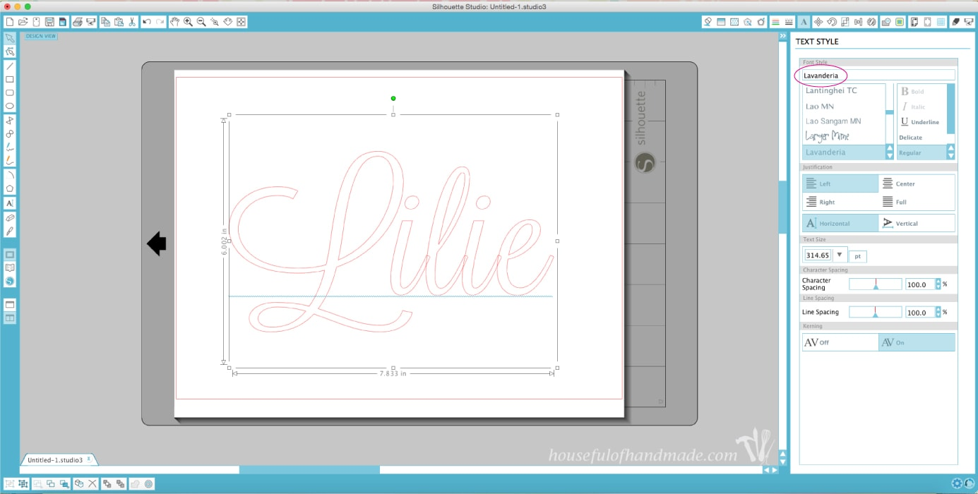 Lilie applique shown on computer with silhouette design.