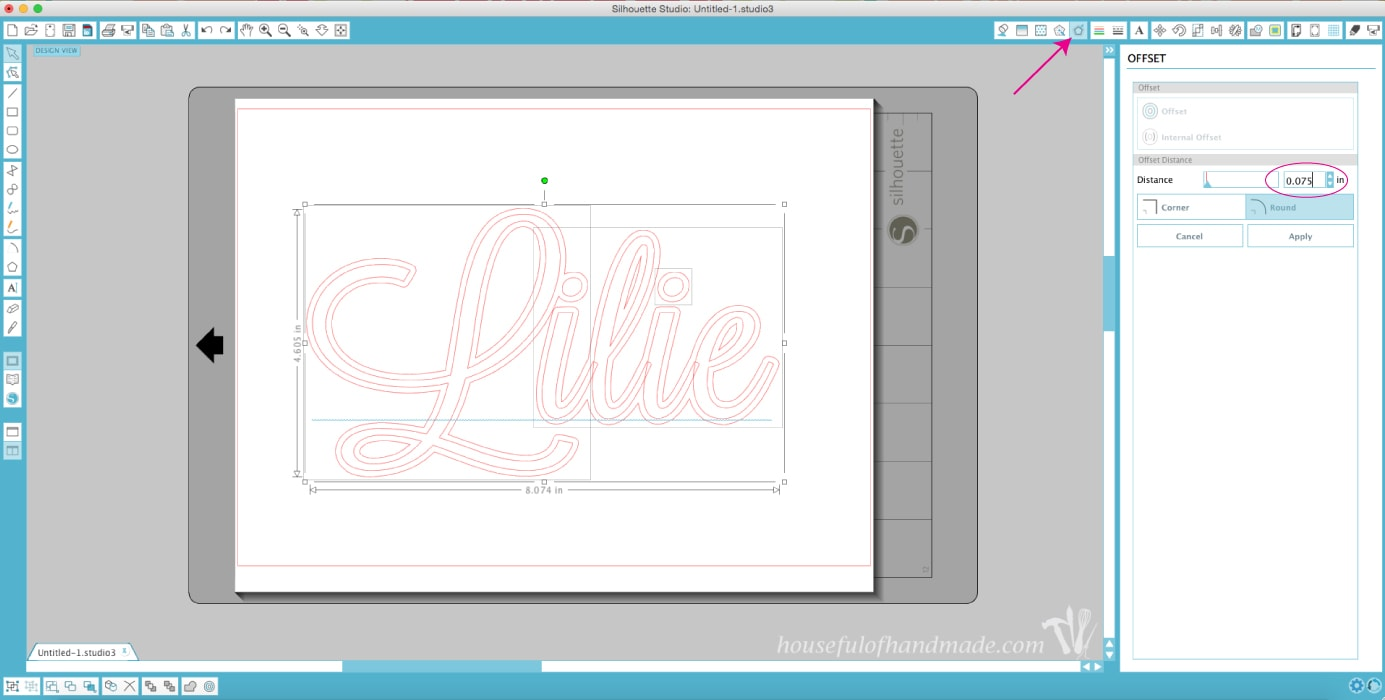 Lilie name in silhouette design space on computer.