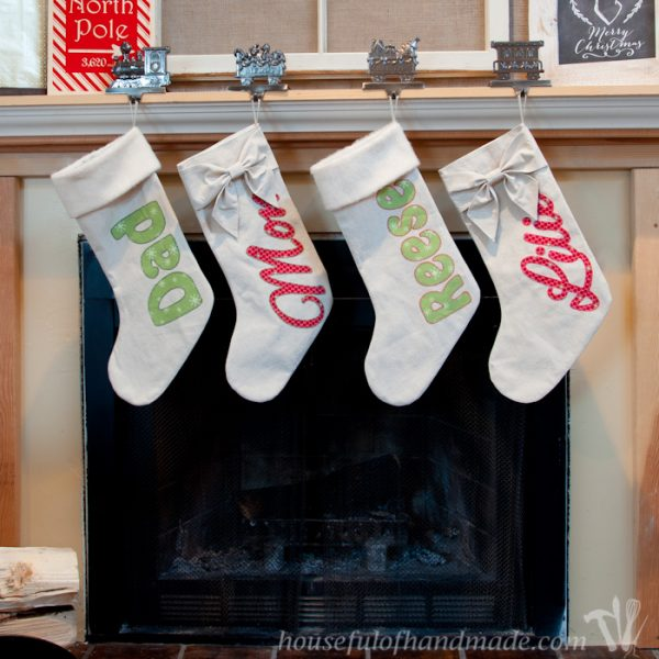 DIY Personalized Drop Cloth Christmas Stockings