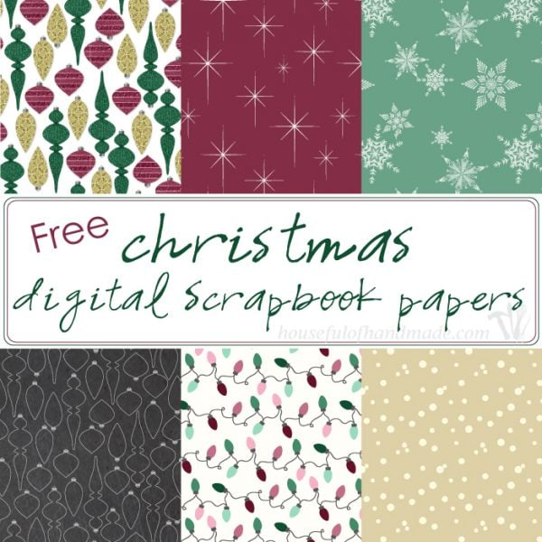 Make Christmas paper crafting easy with these beautiful and free Christmas digital scrapbook papers. Six festive prints designed to be printed double sided with beautifully coordinated colors. | Housefulofhandmade.com