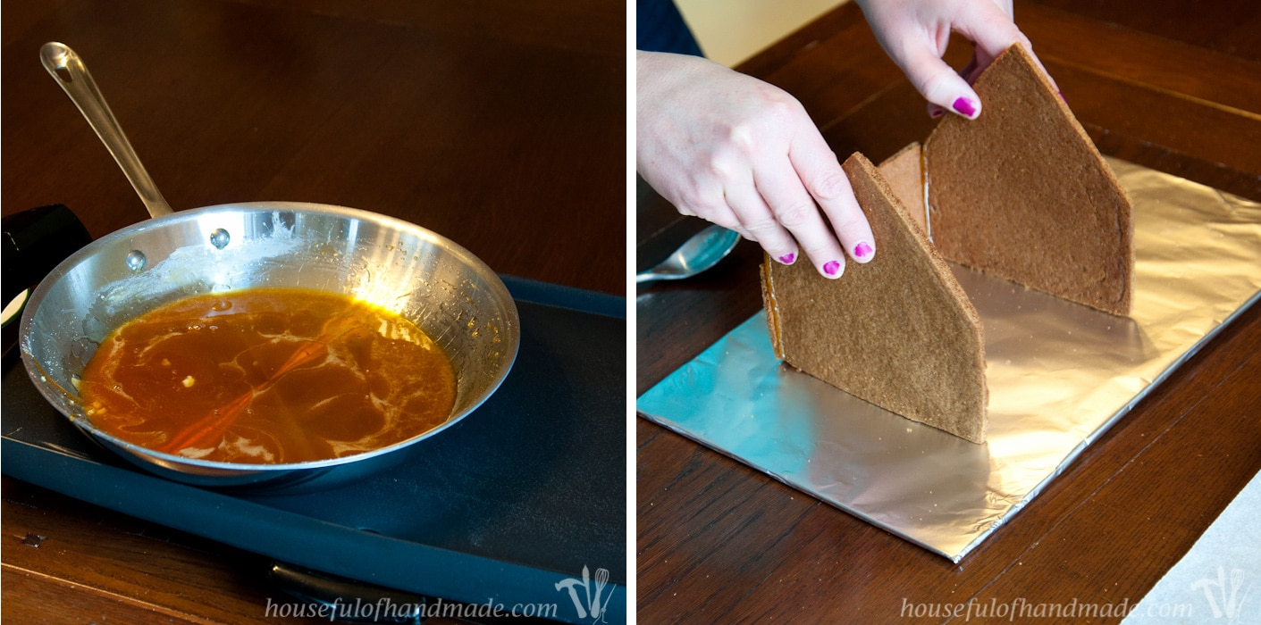 Hot glue gingerbread how to easily assemble a for How do you make a gingerbread house