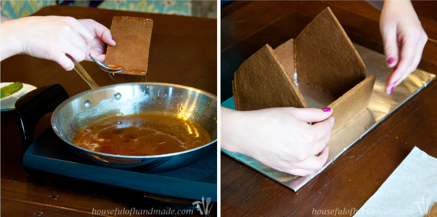 "Don't let frustration over putting together gingerbread houses keep you from making traditions with your family. Use ""Hot Glue"" to put it together instead! This tutorial shows you how to easily assemble a gingerbread house with melted sugar. 