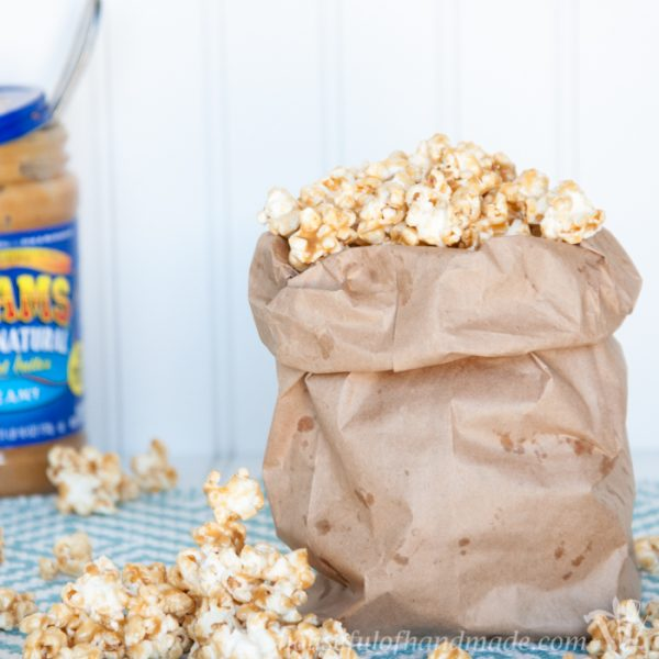 Chewy Peanut Butter Caramel Popcorn
