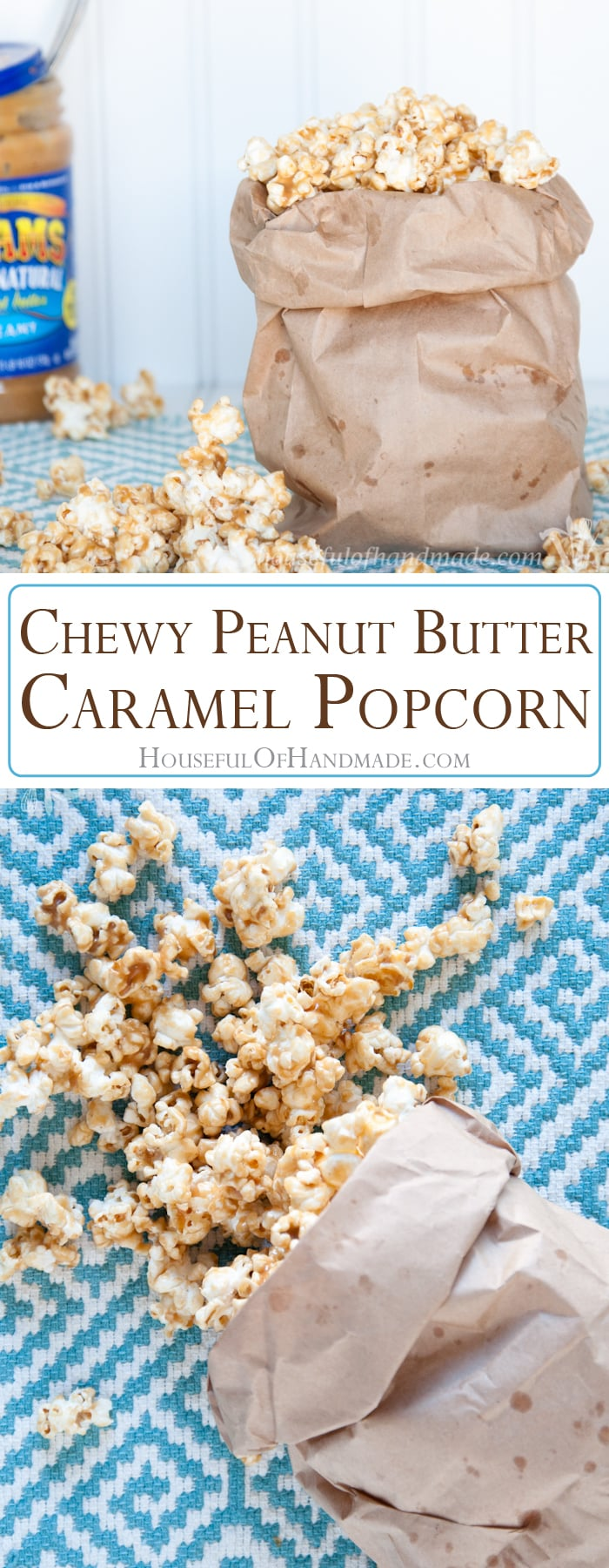 This is the best caramel popcorn ever! I love the sweet, nutty, and slightly salty flavor of this chewy peanut butter caramel popcorn. Day 1 of 14 days of popcorn.   Housefulofhandmade.com