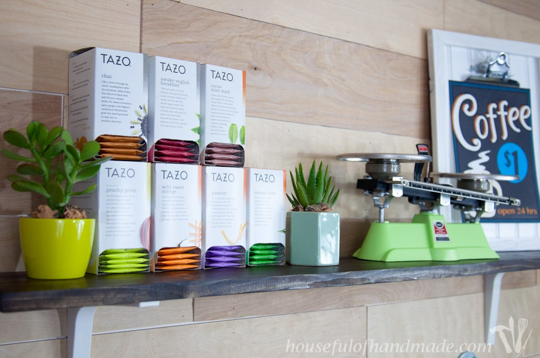 I love this coffee station. It has everything you need to make the perfect cup of coffee or tea. And has tons of storage!   Housefulofhandmade.com