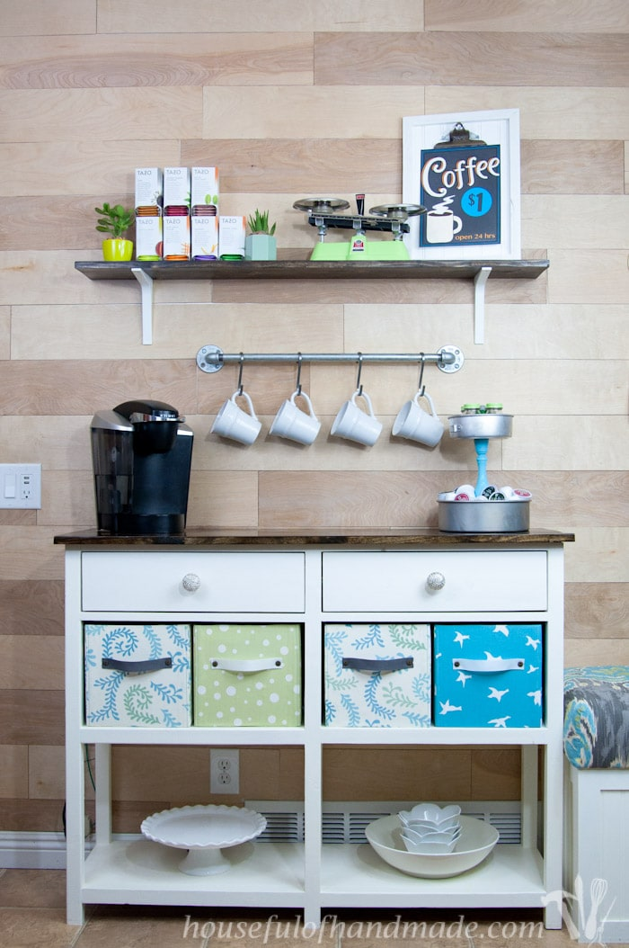 Use these amazing DIYs to Organize your home this year. I love this coffee station. It has everything you need to make the perfect cup of coffee or tea. And has tons of storage! | Housefulofhandmade.com