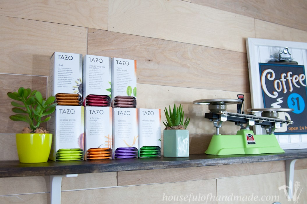 I love this coffee station. It has everything you need to make the perfect cup of coffee or tea. And has tons of storage! | Housefulofhandmade.com