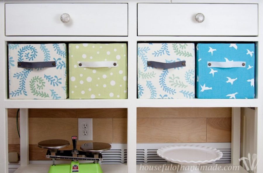 4 DIY fabric storage boxes shown in coffee station.