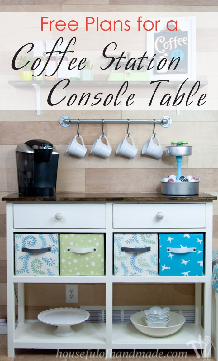 Build this classic console table, perfect for your coffee station with these free plans! Free coffee station console plans from Housefulofhandmade.com