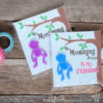 I love non-candy Valentines for the kids. These free printable monkey Valentines use stretch monkeys from the Dollar Spot. Super cute and easy! | Housefulofhandmade.com