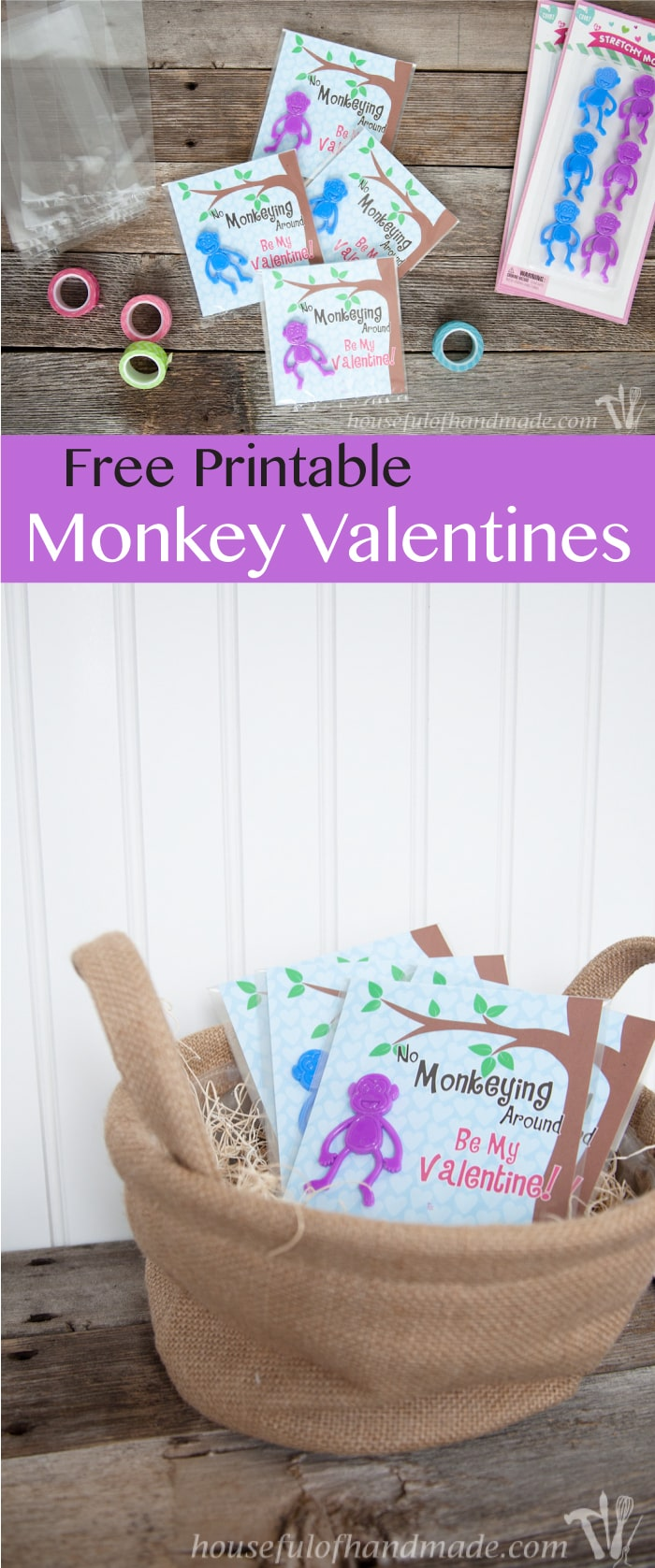 I love non-candy Valentines for the kids. These free printable monkey Valentines use stretchy monkeys from the Dollar Spot. Super cute and easy! | Housefulofhandmade.com