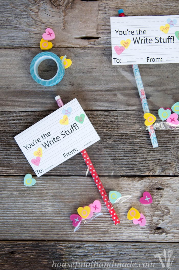 You're the write stuff! The perfect free printable pencil valentines for grade school kids. Download for free at Housefulofhandmade.com.