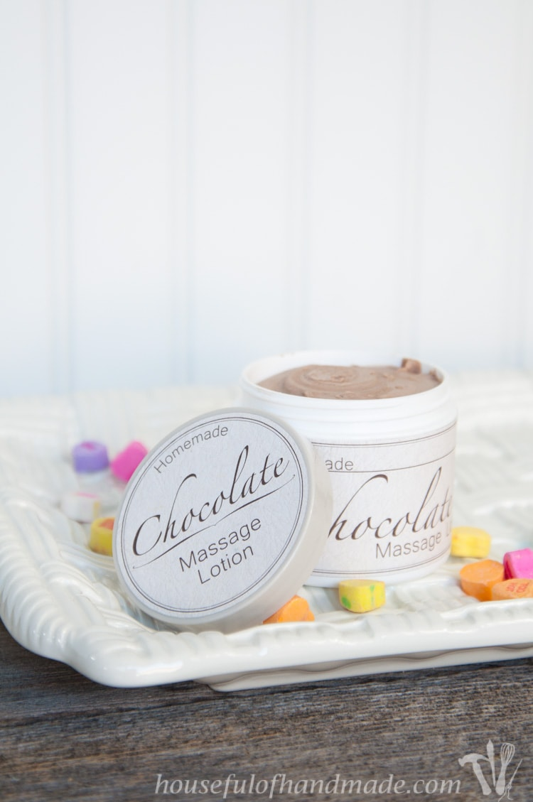 Make the perfect gift for Valentine's Day: Homemade Chocolate Massage Lotion. All the tips you need to make you first batch of homemade lotion. | Housefulofhandmade.com