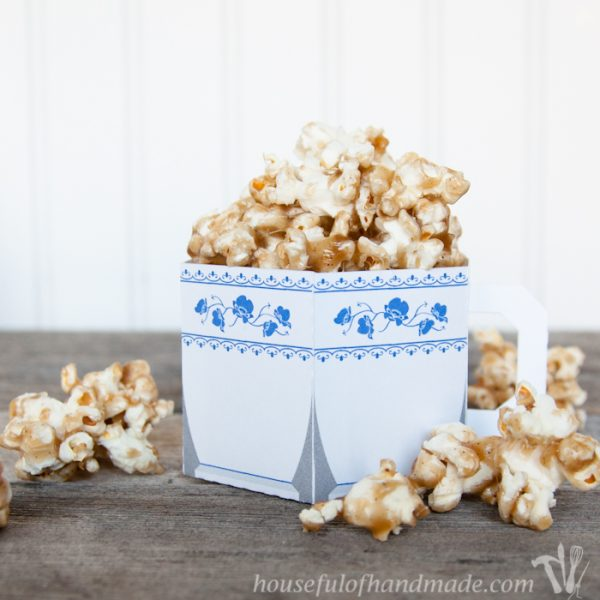 Chai Spiced Caramel Popcorn with Free Printable Paper Tea Cup