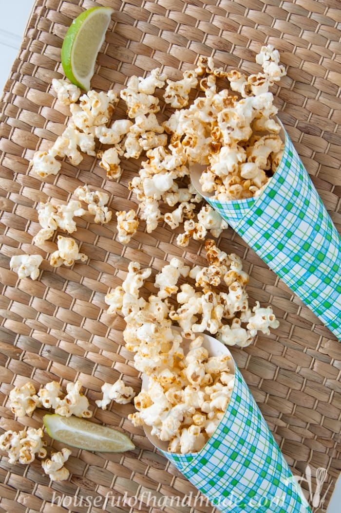This is the perfect spicy snack! I love the southwest flair of this Chipotle Lime Popcorn. The perfect snack for game time.   Housefulofhandmade.com