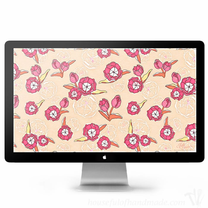 Download these fun tulips for your electronics this spring. I love the softness of these free digital backgrounds for March from Housefulofhandmade.com