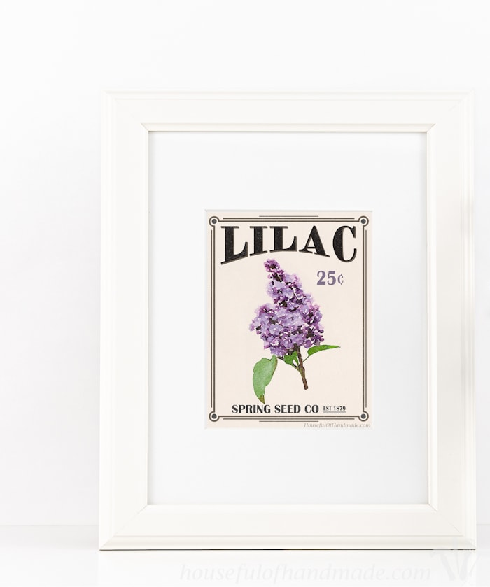 Bring the garden inside with this free printable vintage seed packet art. A beautiful printable 8 1/2 x 11 art print that looks like a vintage seed packet.   Housefulofhandmade.com