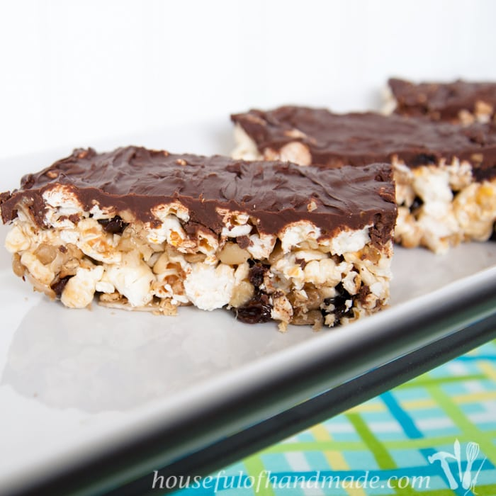 Trail Mix Caramel Popcorn Bars