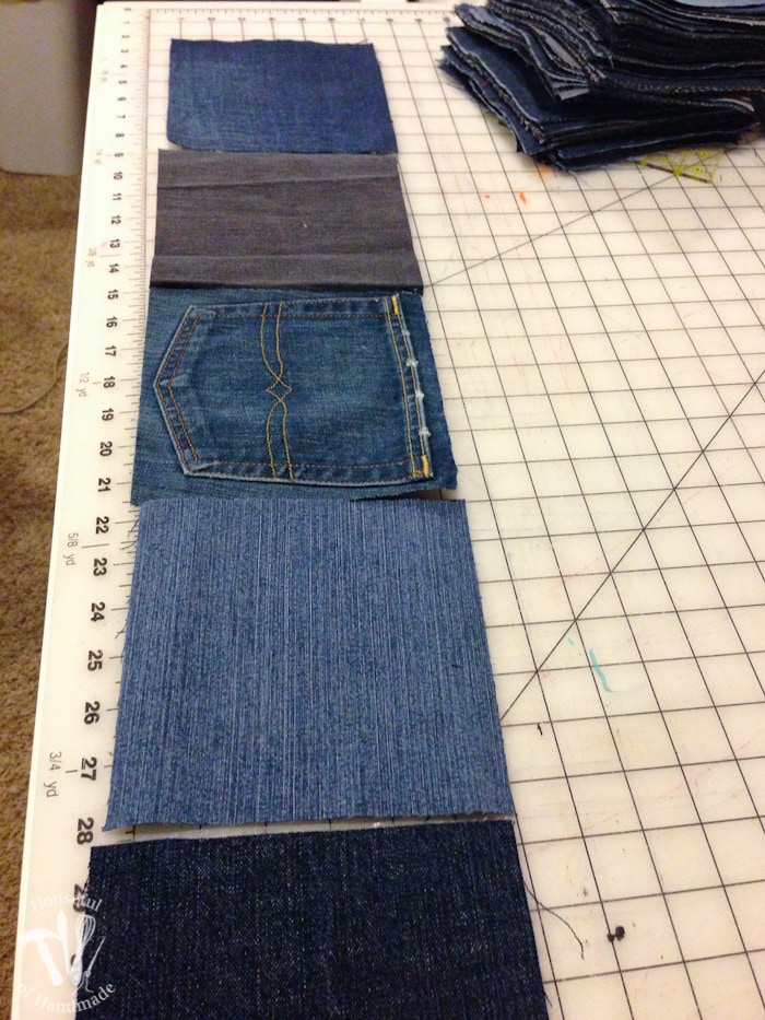Jean squares laid out on sewing table