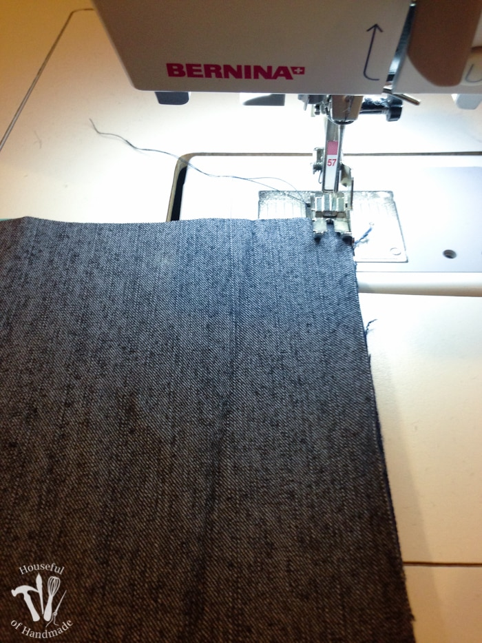 sewing two squares of jeans for a Water-resistant upcycled jeans picnic blanket