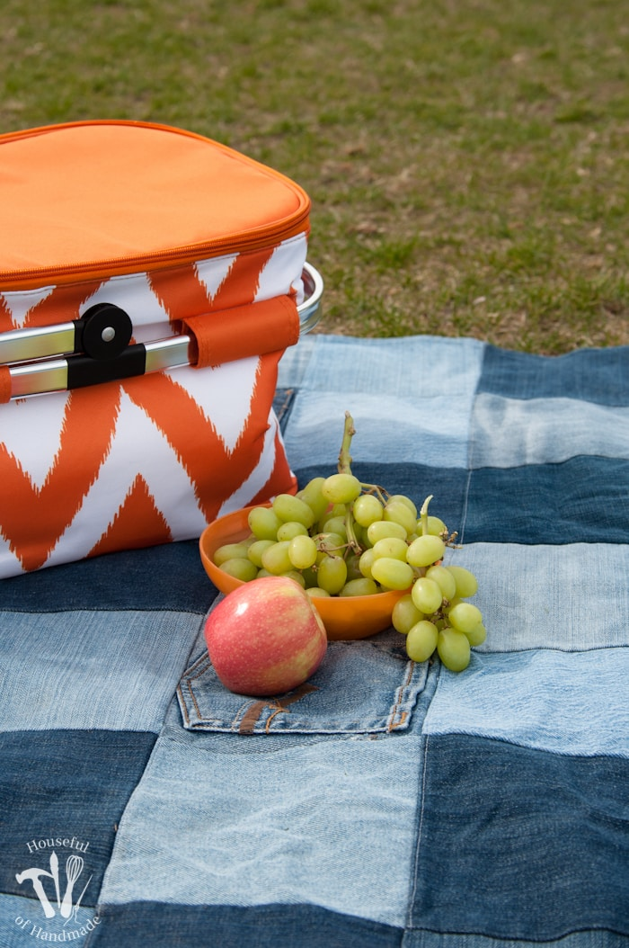 Grapes and apple on Water-resistant upcycled jeans picnic blanket