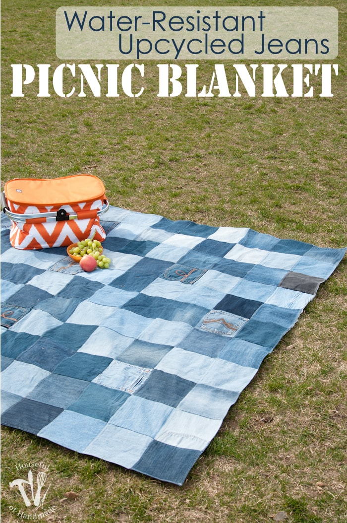 This is the best picnic blanket ever! Make an Easy Water-Resistant Upcycled Jeans Picnic Blanket from your old jeans. It makes a super sturdy picnic blanket for the spring and summer. | Housefulofhandmade.com