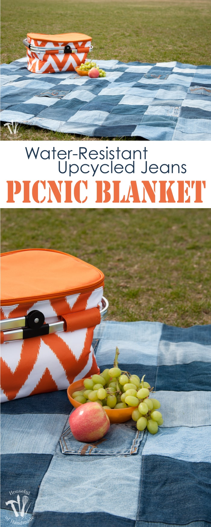 Easy Water Resistant Upcycled Jeans Picnic Blanket A