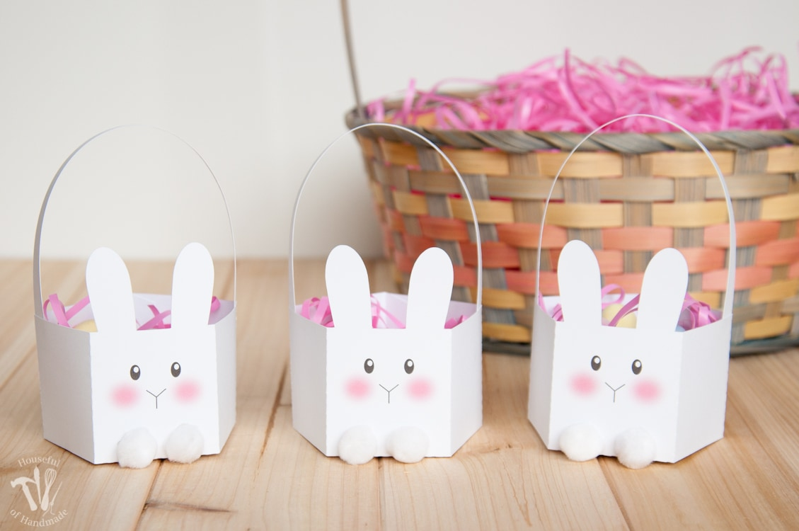 picture relating to Easter Basket Printable named Printable Bunny Easter Baskets - Houseful of Selfmade