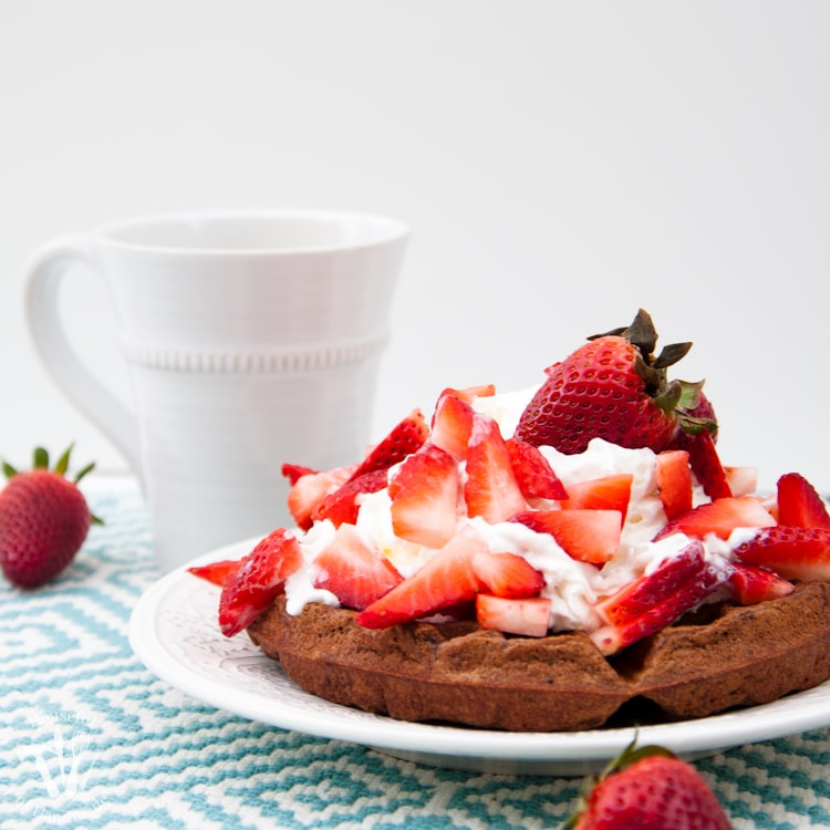 This is the best breakfast ever! Celebrate the weekend with these Healthy Chocolate Waffles covered with a mountain of whipped cream and strawberries. | Housefulofhandmade.com