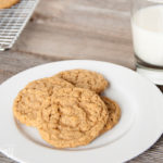 These Malted Peanut Butter Oatmeal Cookies are amazing! They are made with whole wheat flour, peanut butter, oats, and malted milk to make them really special. The result is a cookies that is malty, nutty, slightly crunchy but with a chewy center full of peanut buttery goodness. | Housefulofhandmade.com