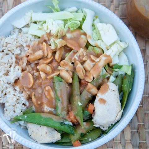 Make a delicious dinner that can be on the table fast. These super fast chicken & vegetable rice bowls with peanut sauce are the go-to meal for our busy weekdays at our house. | Housefulofhandmade.com