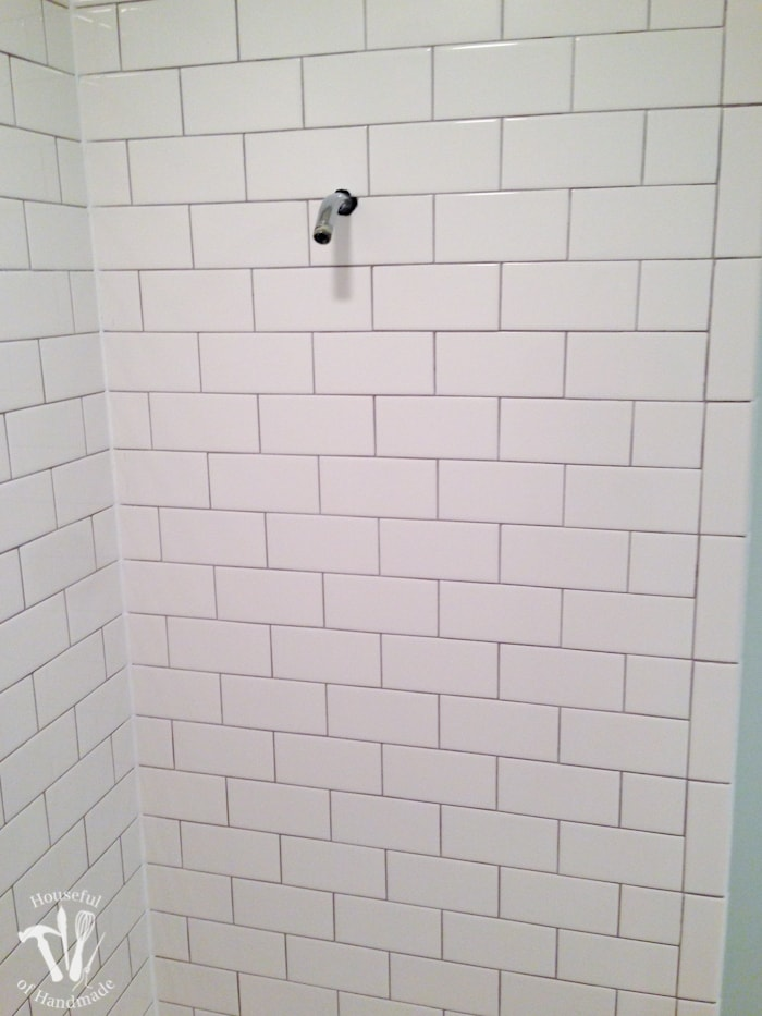 I've been working hard on the master bathroom remodel. This week I tackled tiling and learned a lot. Check out the update on the bathroom and see what I learned so you can avoid making the same mistakes. | Housefulofhandmade.com