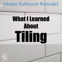 I've been working hard on the master bathroom remodel. This week I tackled tiling and learned a lot. Check out the update on the bathroom and see what I learned so you can avoid making the same mistakes.   Housefulofhandmade.com