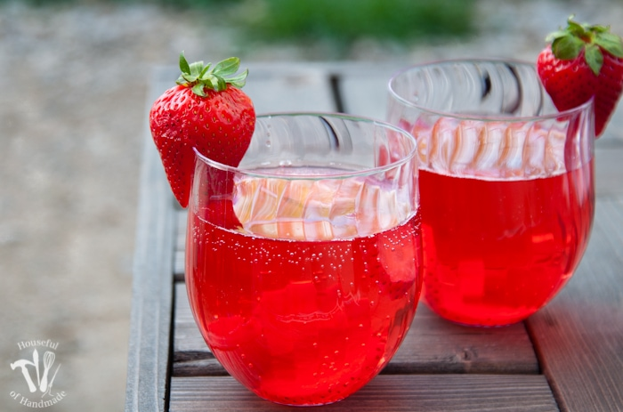 This is my new favorite flavored water recipe! This strawberry hibiscus sparkling water is so refreshing and perfect for summer. | Housefulofhandmade.com