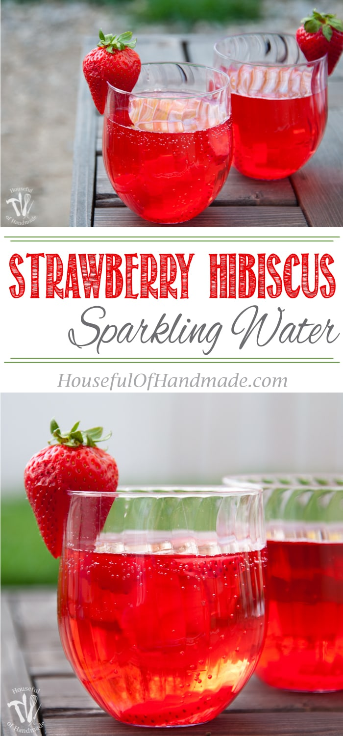 This is my new favorite flavored water recipe! This strawberry hibiscus sparkling water is so refreshing and the perfect drink for summer. | Housefulofhandmade.com