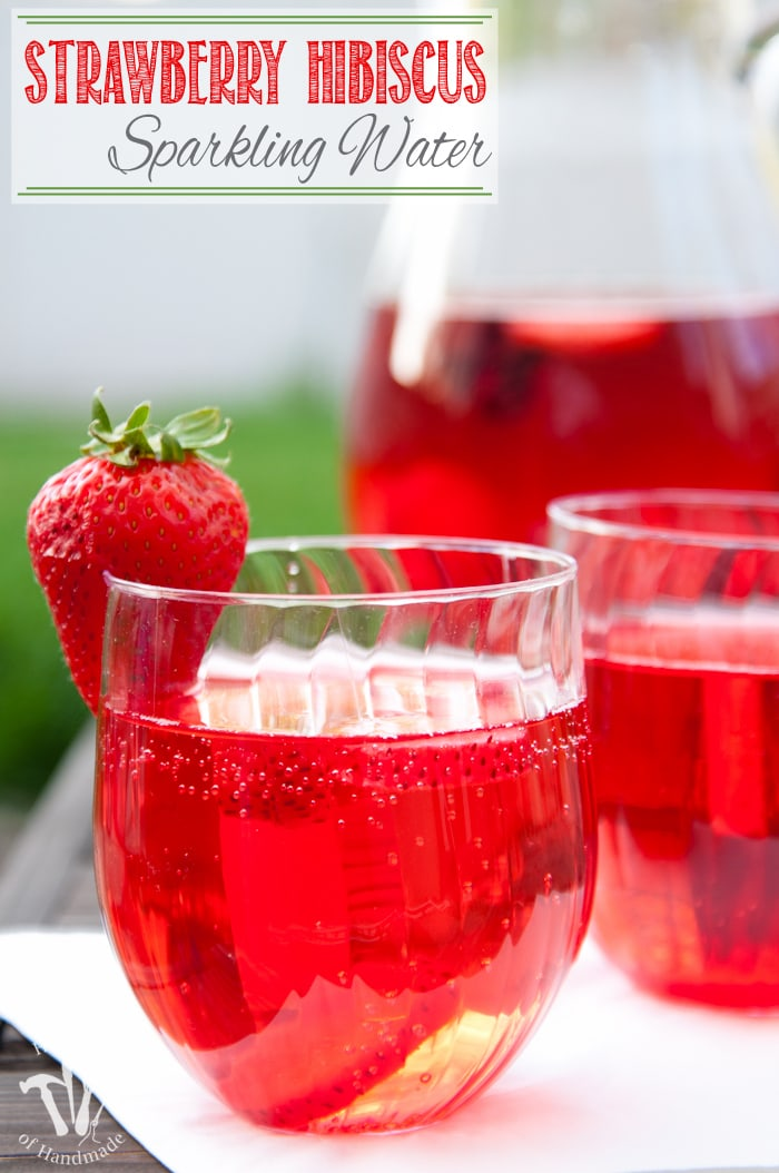 This is my new favorite flavored water recipe! This strawberry hibiscus sparkling water is so refreshing and the perfect drink for summer.   Housefulofhandmade.com