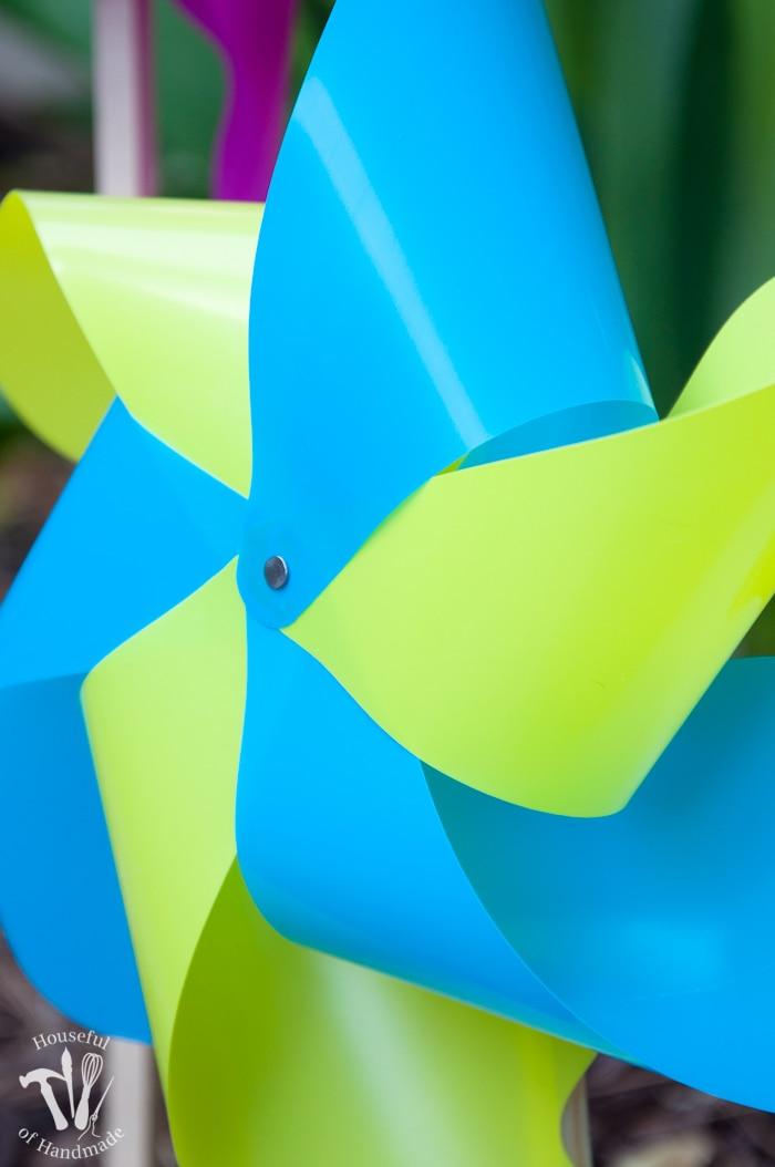 close up of yellow and blue pinwheel