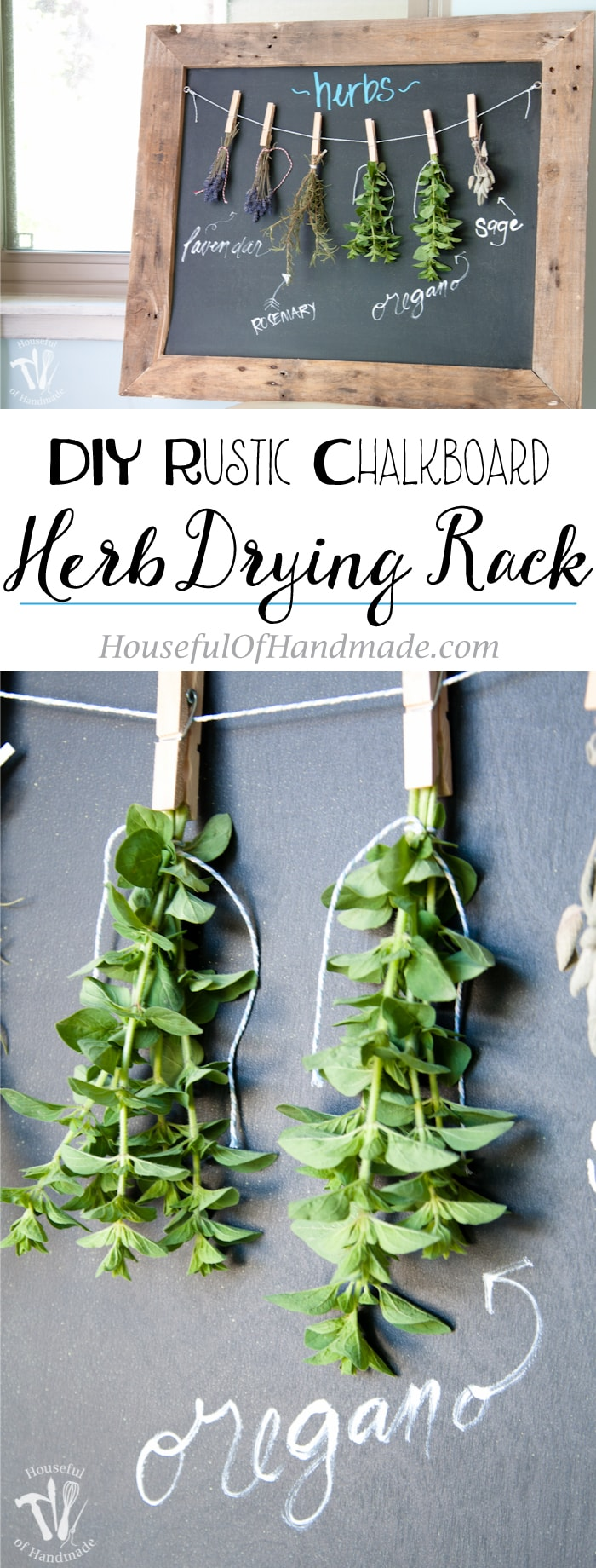 Make drying your herbs a part of your decor with this DIY rustic chalkboard herb drying rack. It's made from an old palette and makes preserving herbs beautiful. | Housefulofhandmade.com #herbs #chalkboard #diy #woodworking #palletwood