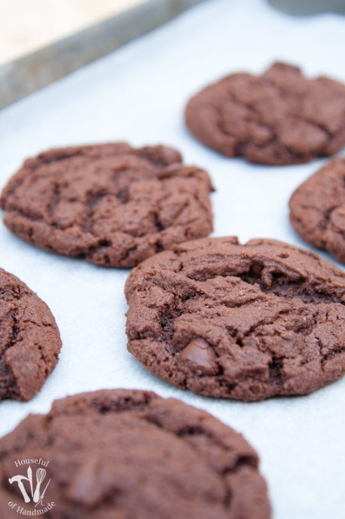 double chocolate nutella cookies baked on a tray
