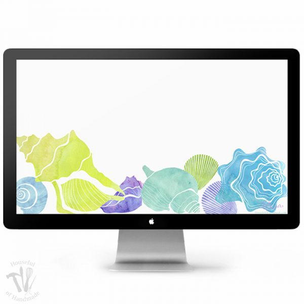 Celebrate the beginning of summer with these beautiful watercolor sea shells on your smartphone and computer. Download your free digital backgrounds for June today! | Housefulofhandmade.com