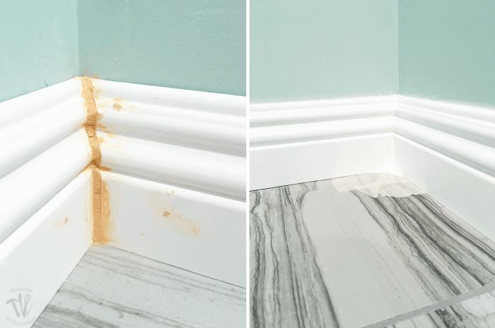 Master Bathroom Update Installing Baseboards And Door Trim Houseful Of Handmade